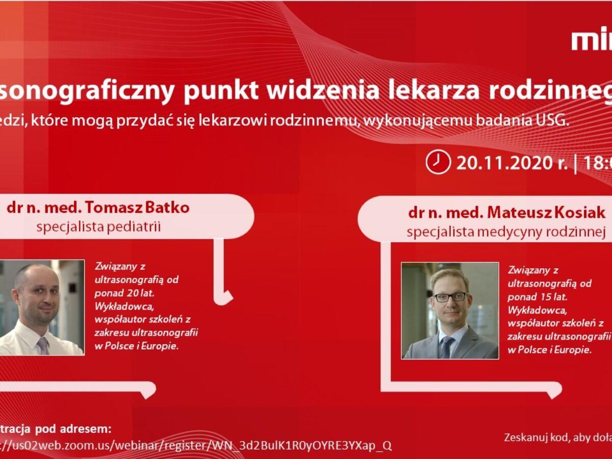 Webinar - Ultrasonograficzny punkt widzenia lekarza rodzinnego - 20.11.2020r.